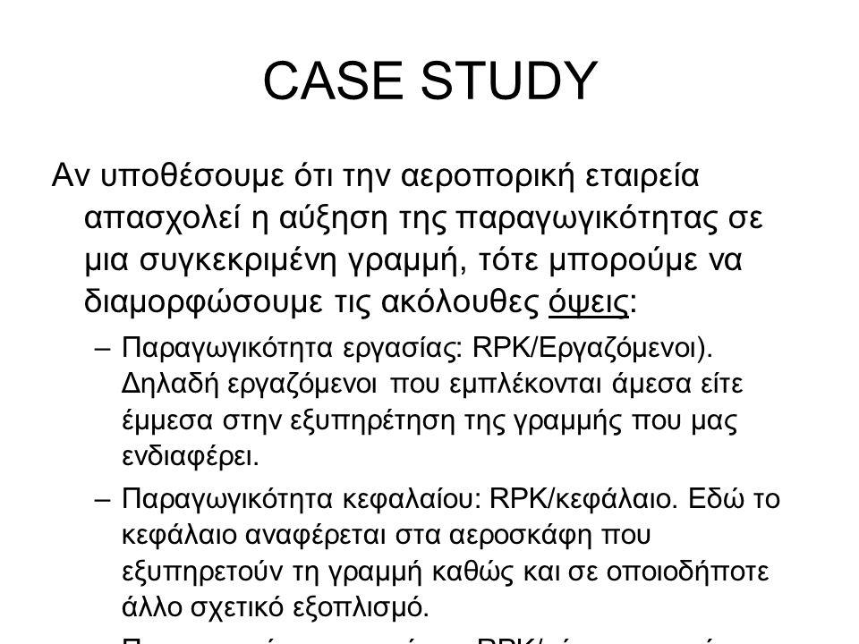 CASE STUDY Αν υποθέσουμε ότι την αεροπορική εταιρεία απασχολεί η αύξηση της παραγωγικότητας σε μια συγκεκριμένη γραμμή, τότε μπορούμε να διαμορφώσουμε τις ακόλουθες όψεις: –Παραγωγικότητα εργασίας: RPK/Εργαζόμενοι).