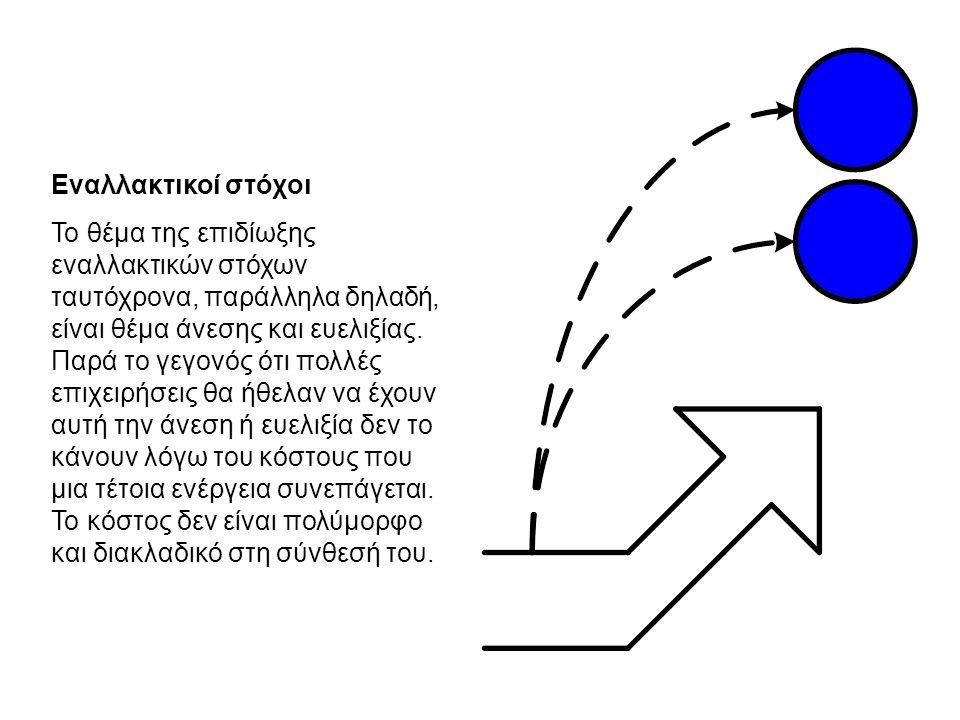 Εναλλακτικοί στόχοι Το θέμα της επιδίωξης εναλλακτικών στόχων ταυτόχρονα, παράλληλα δηλαδή, είναι θέμα άνεσης και ευελιξίας.