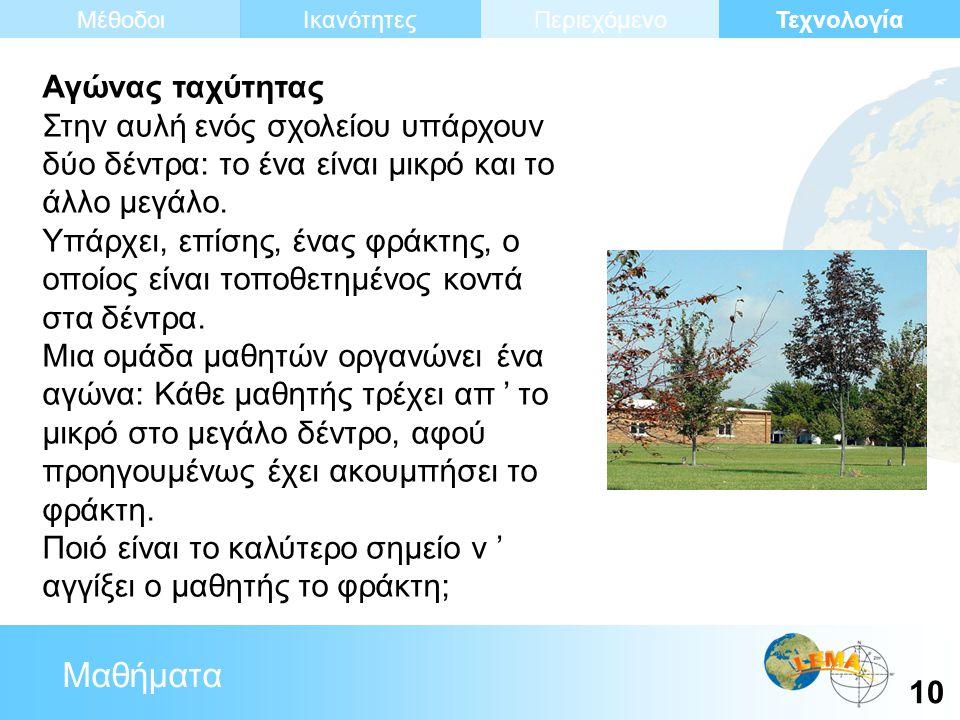 Μαθήματα Τεχνολογία 10 ΙκανότητεςΜέθοδοιΠεριεχόμενο Αγώνας ταχύτητας Στην αυλή ενός σχολείου υπάρχουν δύο δέντρα: το ένα είναι μικρό και το άλλο μεγάλο.