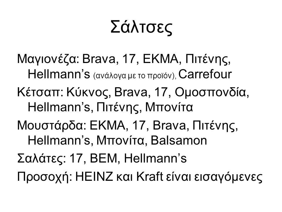 Σάλτσες Μαγιονέζα: Brava, 17, ΕΚΜΑ, Πιτένης, Hellmann's (ανάλογα με το προϊόν), Carrefour Κέτσαπ: Κύκνος, Brava, 17, Ομοσπονδία, Hellmann's, Πιτένης,