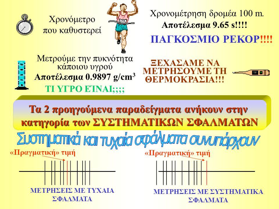 «Πραγματική» τιμή Χρονόμετρο που καθυστερεί Χρονομέτρηση δρομέα 100 m.