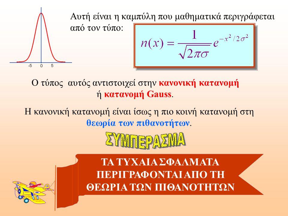 Αυτή είναι η καμπύλη που μαθηματικά περιγράφεται από τον τύπο: Ο τύπος αυτός αντιστοιχεί στην κανονική κατανομή ή κατανομή Gauss.