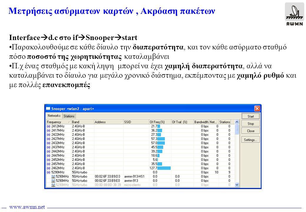 www.awmn.net Interface  d.c στο if  Snooper  start •Παρακολουθούμε σε κάθε δίαυλο την διαπερατότητα, και τον κάθε ασύρματο σταθμό πόσο ποσοστό της χωρητικότητας καταλαμβάνει •Π.χ ένας σταθμός με κακή ληψη μπορεί να έχει χαμηλή διαπερατότητα, αλλά να καταλαμβάνει το δίαυλο για μεγάλο χρονικό διάστημα, εκπέμποντας με χαμηλό ρυθμό και με πολλές επανεκπομπές Μετρήσεις ασύρματων καρτών, Ακρόαση πακέτων