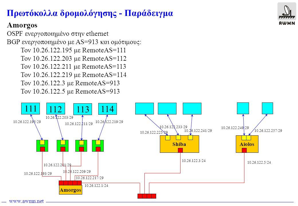 www.awmn.net Amorgos ShibaAiolos Πρωτόκολλα δρομολόγησης - Παράδειγμα 10.26.122.193/29 10.26.122.201/29 10.26.122.209/29 10.26.122.217/29 10.26.122.225/29 10.26.122.233/29 10.26.122.241/29 10.26.122.249/29 10.26.122.257/29 10.26.122.1/24 10.26.122.3/24 10.26.122.5/24 111 112 113 114 Amorgos OSPF ενεργοποιημένο στην ethernet BGP ενεργοποιημένο με AS=913 και ομότιμους: Τον 10.26.122.195 με RemoteAS=111 Τον 10.26.122.203 με RemoteAS=112 Τον 10.26.122.211 με RemoteAS=113 Τον 10.26.122.219 με RemoteAS=114 Τον 10.26.122.3 με RemoteAS=913 Τον 10.26.122.5 με RemoteAS=913 10.26.122.195/29 10.26.122.203/29 10.26.122.211/29 10.26.122.219/29