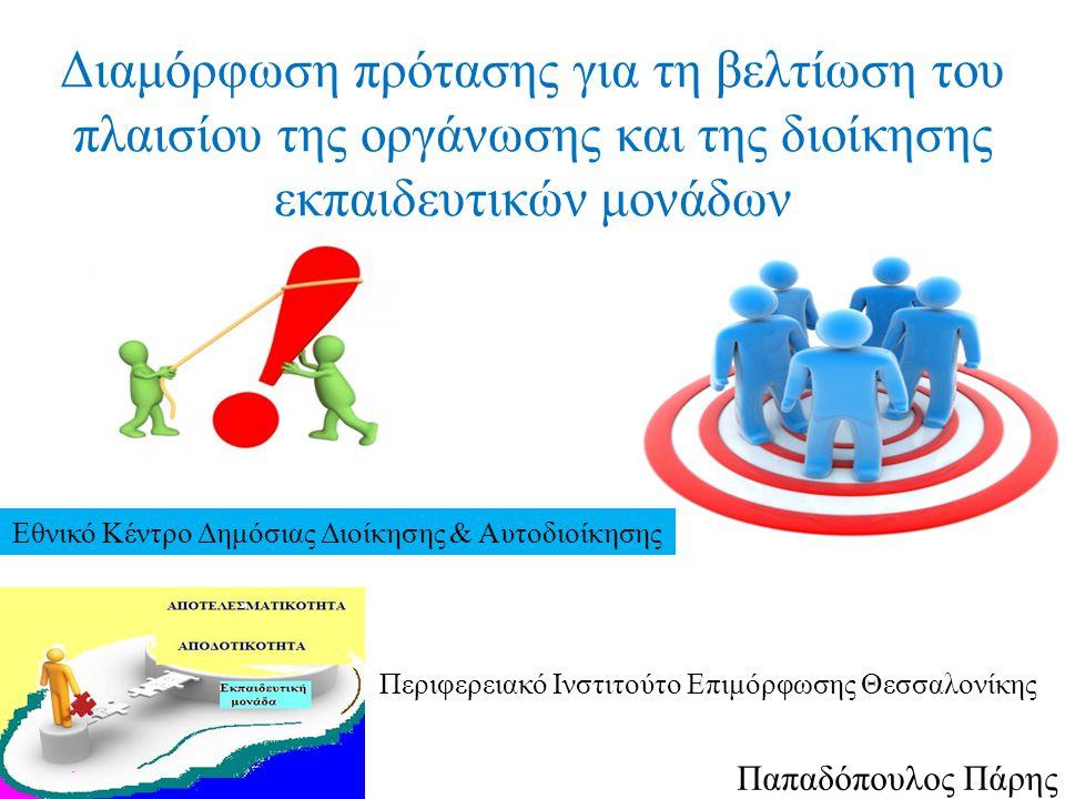 Παπαδόπουλος Πάρης Διαμόρφωση πρότασης για τη βελτίωση του πλαισίου της οργάνωσης και της διοίκησης εκπαιδευτικών μονάδων Εθνικό Κέντρο Δημόσιας Διοίκησης & Αυτοδιοίκησης Περιφερειακό Ινστιτούτο Επιμόρφωσης Θεσσαλονίκης