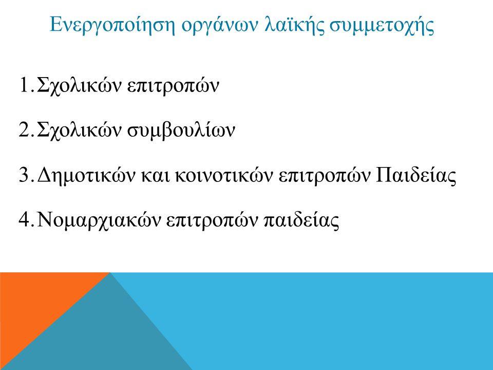 Ενεργοποίηση οργάνων λαϊκής συμμετοχής 1.Σχολικών επιτροπών 2.Σχολικών συμβουλίων 3.Δημοτικών και κοινοτικών επιτροπών Παιδείας 4.Νομαρχιακών επιτροπώ