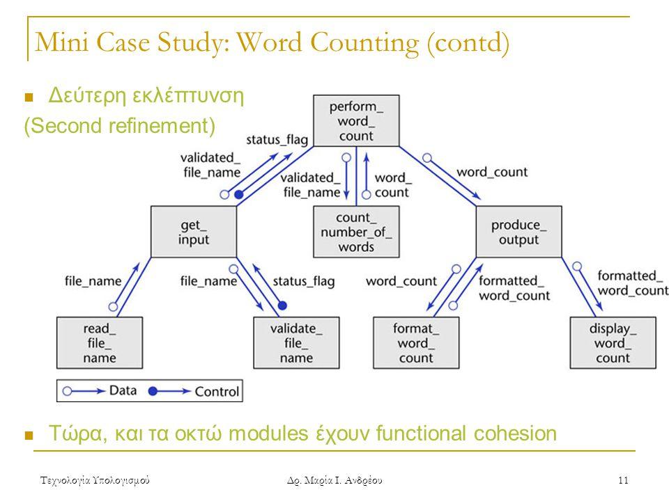 Τεχνολογία Υπολογισμού Δρ. Μαρία Ι. Ανδρέου 11  Δεύτερη εκλέπτυνση (Second refinement)  Τώρα, και τα οκτώ modules έχουν functional cohesion Mini Cas