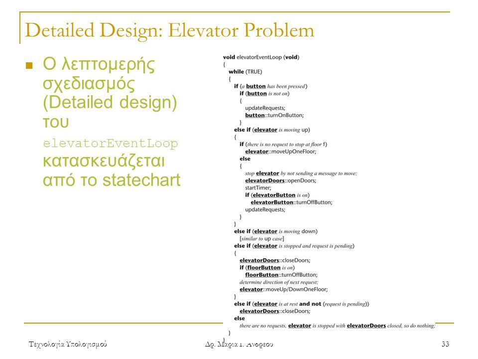 Τεχνολογία Υπολογισμού Δρ. Μαρία Ι. Ανδρέου 33 Detailed Design: Elevator Problem  Ο λεπτομερής σχεδιασμός (Detailed design) του elevatorEventLoop κατ
