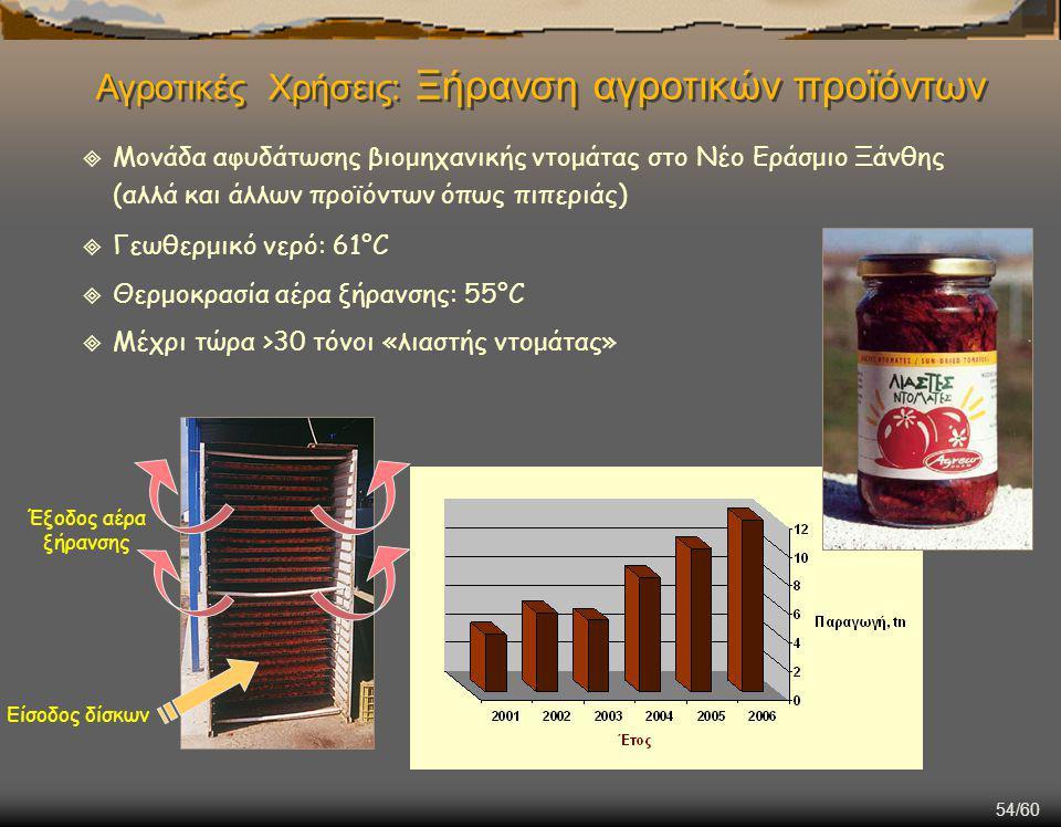 54/60  Μονάδα αφυδάτωσης βιομηχανικής ντομάτας στο Νέο Εράσμιο Ξάνθης (αλλά και άλλων προϊόντων όπως πιπεριάς)  Γεωθερμικό νερό: 61°C  Θερμοκρασία αέρα ξήρανσης: 55°C  Μέχρι τώρα >30 τόνοι «λιαστής ντομάτας» Έξοδος αέρα ξήρανσης Είσοδος δίσκων Αγροτικές Χρήσεις: Ξήρανση αγροτικών προϊόντων