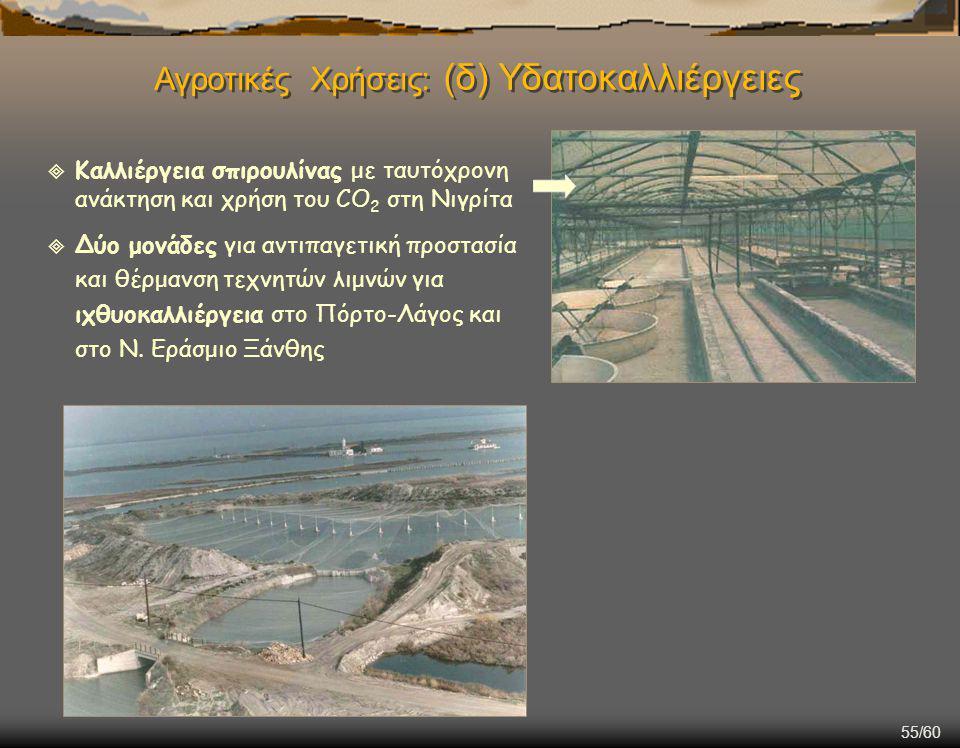 55/60  Καλλιέργεια σπιρουλίνας με ταυτόχρονη ανάκτηση και χρήση του CO 2 στη Νιγρίτα  Δύο μονάδες για αντιπαγετική προστασία και θέρμανση τεχνητών λιμνών για ιχθυοκαλλιέργεια στο Πόρτο-Λάγος και στο Ν.