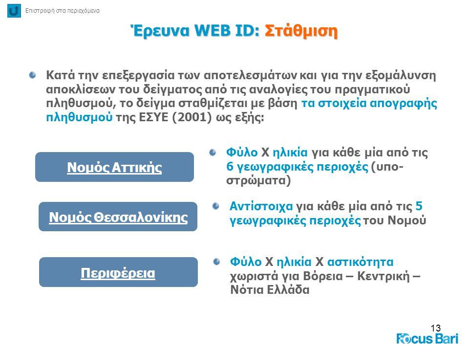 13 Έρευνα WEB ID: Στάθμιση Κατά την επεξεργασία των αποτελεσμάτων και για την εξομάλυνση αποκλίσεων του δείγματος από τις αναλογίες του πραγματικού πλ