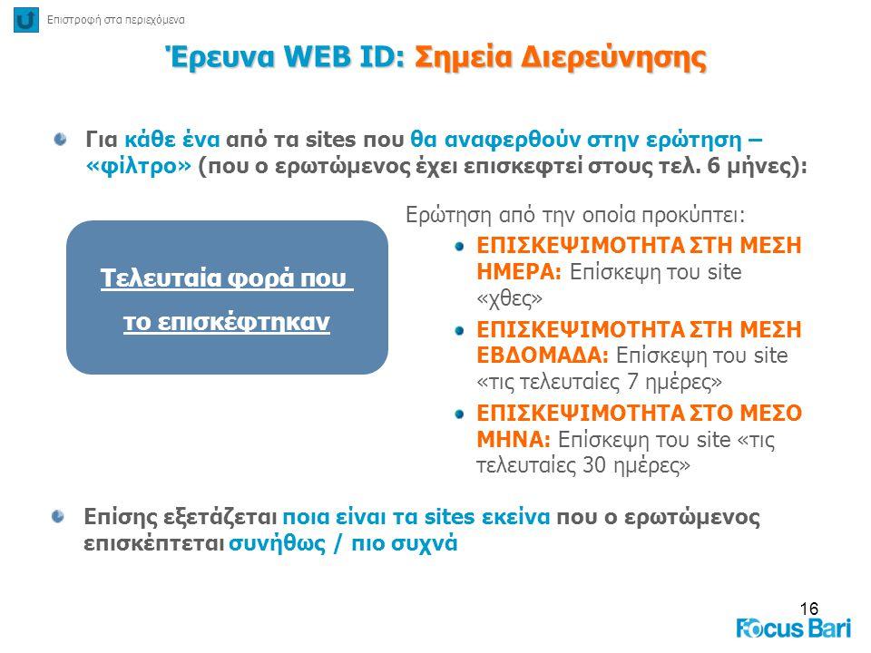 16 Έρευνα WEB ID: Σημεία Διερεύνησης Για κάθε ένα από τα sites που θα αναφερθούν στην ερώτηση – «φίλτρο» (που ο ερωτώμενος έχει επισκεφτεί στους τελ.
