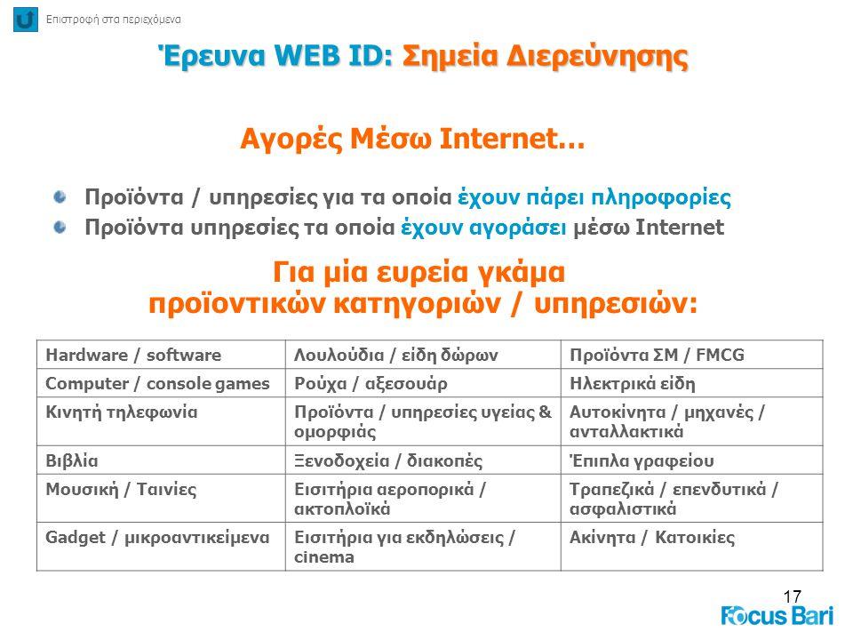 17 Έρευνα WEB ID: Σημεία Διερεύνησης Προϊόντα / υπηρεσίες για τα οποία έχουν πάρει πληροφορίες Προϊόντα υπηρεσίες τα οποία έχουν αγοράσει μέσω Interne