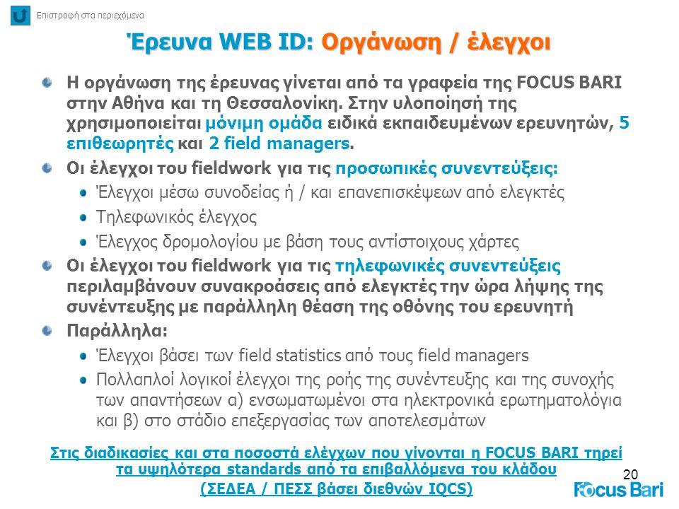 20 Έρευνα WEB ID: Οργάνωση / έλεγχοι Η οργάνωση της έρευνας γίνεται από τα γραφεία της FOCUS BARI στην Αθήνα και τη Θεσσαλονίκη. Στην υλοποίησή της χρ