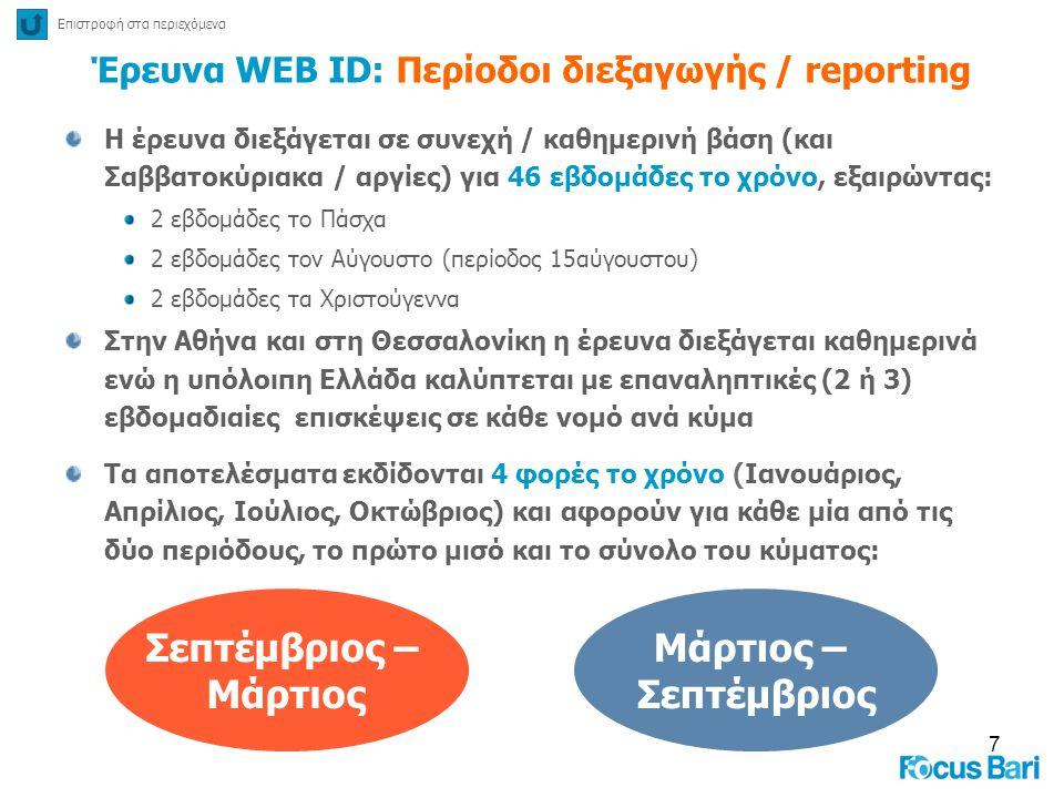 7 Έρευνα WEB ID: Περίοδοι διεξαγωγής / reporting H έρευνα διεξάγεται σε συνεχή / καθημερινή βάση (και Σαββατοκύριακα / αργίες) για 46 εβδομάδες το χρό