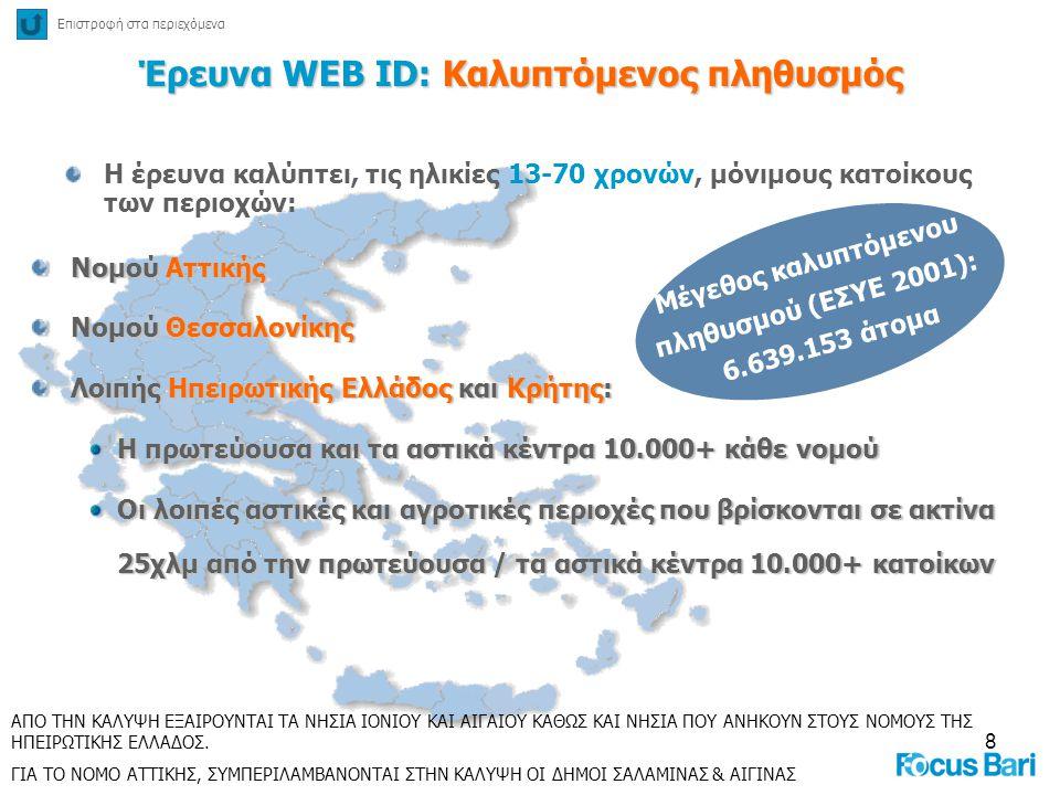8 Έρευνα WEB ID: Καλυπτόμενος πληθυσμός Η έρευνα καλύπτει, τις ηλικίες 13-70 χρονών, μόνιμους κατοίκους των περιοχών: Νομού Αττικής Νομού Θεσσαλονίκης