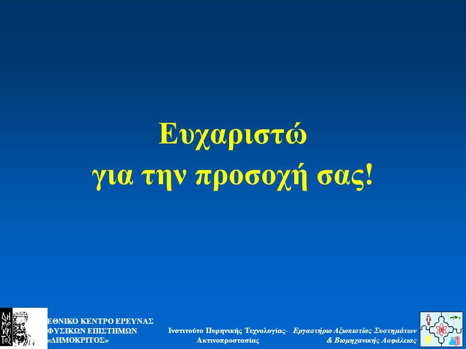 ΕΘΝΙΚΟ ΚΕΝΤΡΟ ΕΡΕΥΝΑΣ ΦΥΣΙΚΩΝ ΕΠΙΣΤΗΜΩΝ «ΔΗΜΟΚΡΙΤΟΣ» Εργαστήριο Αξιοπιστίας Συστημάτων & Βιομηχανικής Ασφάλειας Ινστιτούτο Πυρηνικής Τεχνολογίας- Ακτινοπροστασίας Ευχαριστώ για την προσοχή σας!