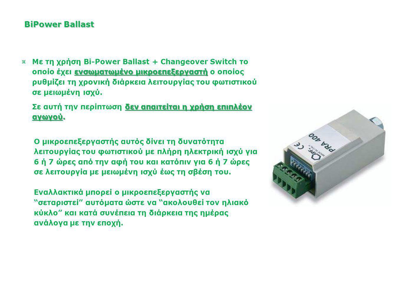 Changeover Switch BiPower Ballast Πυκνωτής BiPower Ballast Εκκινητής