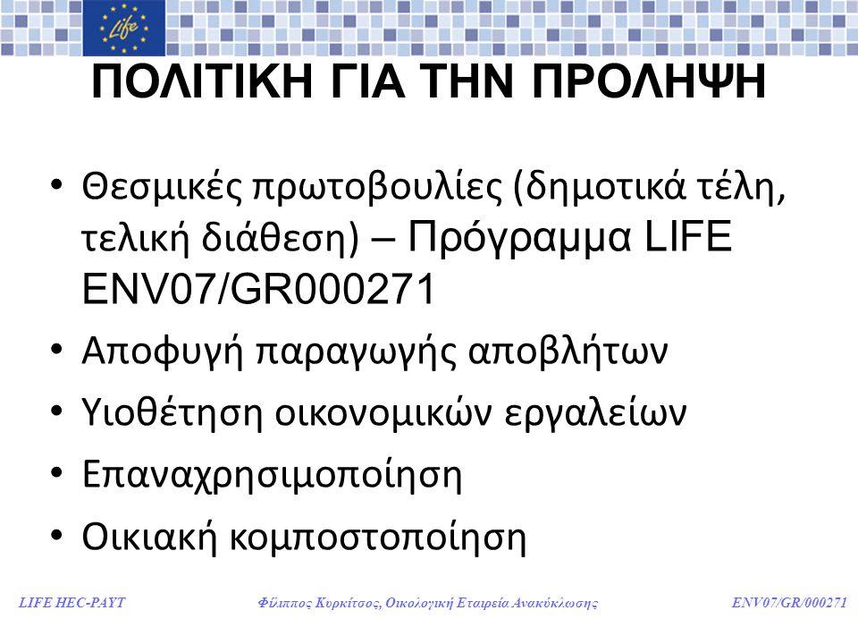 LIFE HEC-PAYT Φίλιππος Κυρκίτσος, Οικολογική Εταιρεία Ανακύκλωσης ENV07/GR/000271 ΠΟΛΙΤΙΚΗ ΓΙΑ ΤΗΝ ΠΡΟΛΗΨΗ • Θεσμικές πρωτοβουλίες (δημοτικά τέλη, τελική διάθεση) – Πρόγραμμα LIFE ENV07/GR000271 • Αποφυγή παραγωγής αποβλήτων • Υιοθέτηση οικονομικών εργαλείων • Επαναχρησιμοποίηση • Οικιακή κομποστοποίηση