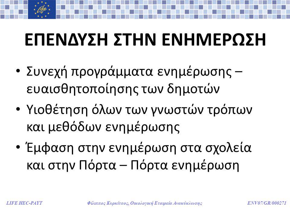 LIFE HEC-PAYT Φίλιππος Κυρκίτσος, Οικολογική Εταιρεία Ανακύκλωσης ENV07/GR/000271 ΕΠΕΝΔΥΣΗ ΣΤΗΝ ΕΝΗΜΕΡΩΣΗ • Συνεχή προγράμματα ενημέρωσης – ευαισθητοπ