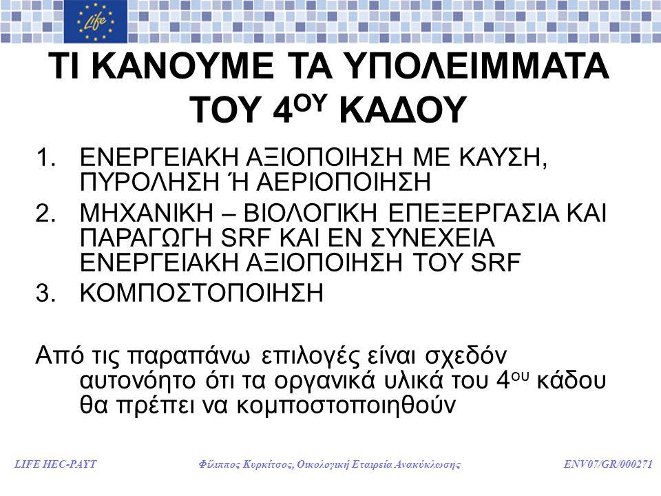 LIFE HEC-PAYT Φίλιππος Κυρκίτσος, Οικολογική Εταιρεία Ανακύκλωσης ENV07/GR/000271 ΤΙ ΚΑΝΟΥΜΕ ΤΑ ΥΠΟΛΕΙΜΜΑΤΑ ΤΟΥ 4 ΟΥ ΚΑΔΟΥ 1.ΕΝΕΡΓΕΙΑΚΗ ΑΞΙΟΠΟΙΗΣΗ ΜΕ ΚΑΥΣΗ, ΠΥΡΟΛΗΣΗ Ή ΑΕΡΙΟΠΟΙΗΣΗ 2.ΜΗΧΑΝΙΚΗ – ΒΙΟΛΟΓΙΚΗ ΕΠΕΞΕΡΓΑΣΙΑ ΚΑΙ ΠΑΡΑΓΩΓΗ SRF ΚΑΙ ΕΝ ΣΥΝΕΧΕΙΑ ΕΝΕΡΓΕΙΑΚΗ ΑΞΙΟΠΟΙΗΣΗ ΤΟΥ SRF 3.ΚΟΜΠΟΣΤΟΠΟΙΗΣΗ Από τις παραπάνω επιλογές είναι σχεδόν αυτονόητο ότι τα οργανικά υλικά του 4 ου κάδου θα πρέπει να κομποστοποιηθούν