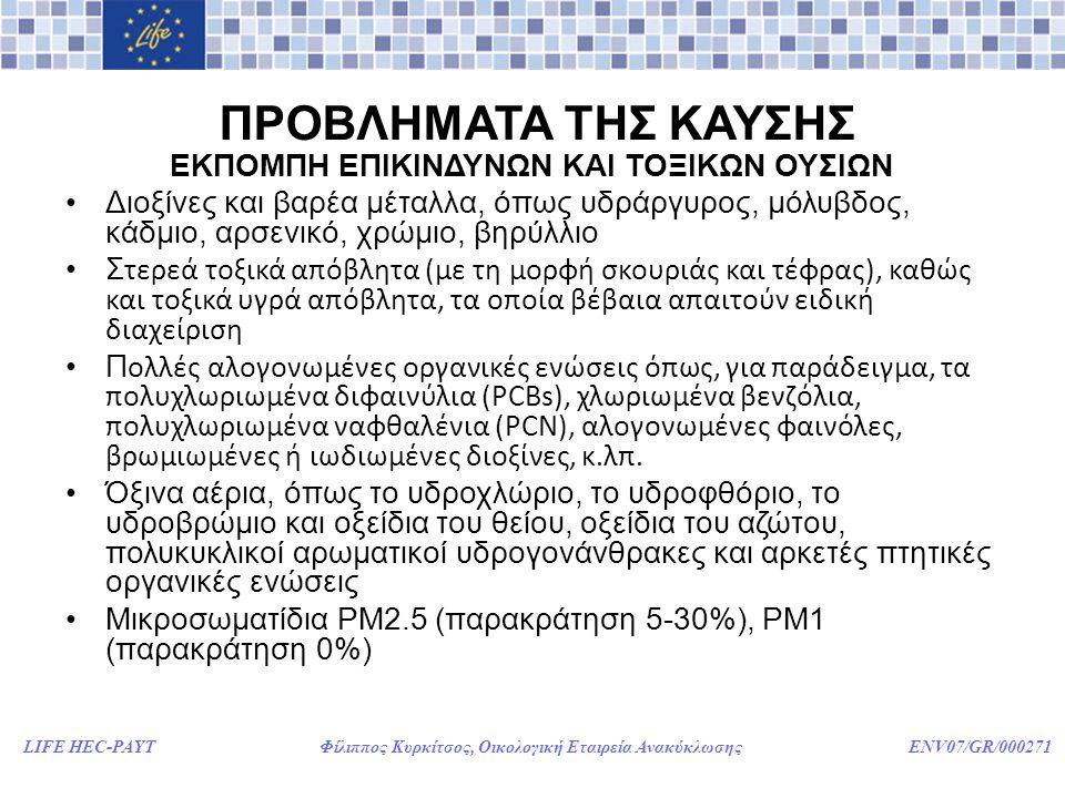 LIFE HEC-PAYT Φίλιππος Κυρκίτσος, Οικολογική Εταιρεία Ανακύκλωσης ENV07/GR/000271 ΠΡΟΒΛΗΜΑΤΑ ΤΗΣ ΚΑΥΣΗΣ ΕΚΠΟΜΠΗ ΕΠΙΚΙΝΔΥΝΩΝ ΚΑΙ ΤΟΞΙΚΩΝ ΟΥΣΙΩΝ •Διοξίνες και βαρέα μέταλλα, όπως υδράργυρος, μόλυβδος, κάδμιο, αρσενικό, χρώμιο, βηρύλλιο •Σ τερεά τοξικά απόβλητα (με τη μορφή σκουριάς και τέφρας), καθώς και τοξικά υγρά απόβλητα, τα οποία βέβαια απαιτούν ειδική διαχείριση •Π ολλές αλογονωμένες οργανικές ενώσεις όπως, για παράδειγμα, τα πολυχλωριωμένα διφαινύλια (PCBs), χλωριωμένα βενζόλια, πολυχλωριωμένα ναφθαλένια (PCN), αλογονωμένες φαινόλες, βρωμιωμένες ή ιωδιωμένες διοξίνες, κ.λπ.