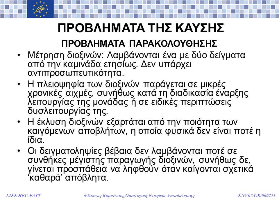 LIFE HEC-PAYT Φίλιππος Κυρκίτσος, Οικολογική Εταιρεία Ανακύκλωσης ENV07/GR/000271 ΠΡΟΒΛΗΜΑΤΑ ΤΗΣ ΚΑΥΣΗΣ ΠΡΟΒΛΗΜΑΤΑ ΠΑΡΑΚΟΛΟΥΘΗΣΗΣ •Μέτρηση διοξινών: Λαμβάνονται ένα με δύο δείγματα από την καμινάδα ετησίως.