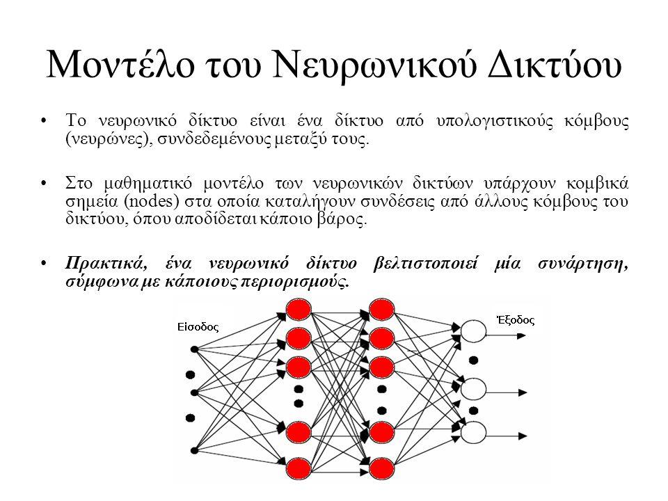 Μοντέλο του Νευρωνικού Δικτύου •Το νευρωνικό δίκτυο είναι ένα δίκτυο από υπολογιστικούς κόμβους (νευρώνες), συνδεδεμένους μεταξύ τους. •Στο μαθηματικό