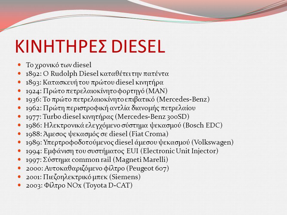 ΚΙΝΗΤΗΡΕΣ DIESEL  Το χρονικό των diesel  1892: O Rudolph Diesel καταθέτει την πατέντα  1893: Κατασκευή του πρώτου diesel κινητήρα  1924: Πρώτο πετ