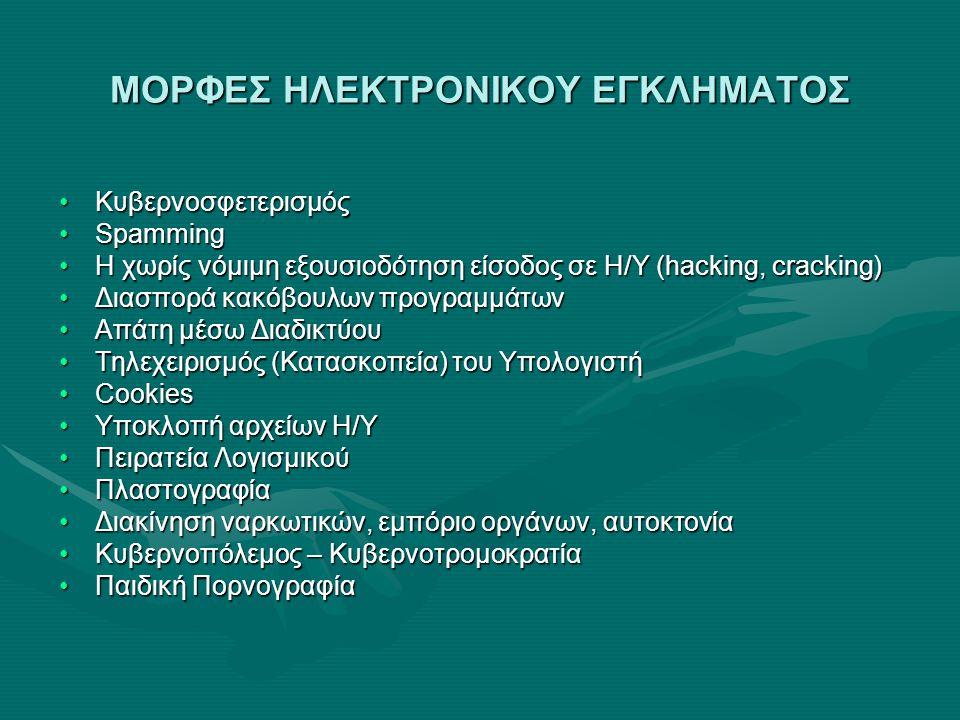 ΜΟΡΦΕΣ ΗΛΕΚΤΡΟΝΙΚΟΥ ΕΓΚΛΗΜΑΤΟΣ •Κυβερνοσφετερισμός •Spamming •Η χωρίς νόμιμη εξουσιοδότηση είσοδος σε Η/Υ (hacking, cracking) •Διασπορά κακόβουλων προ