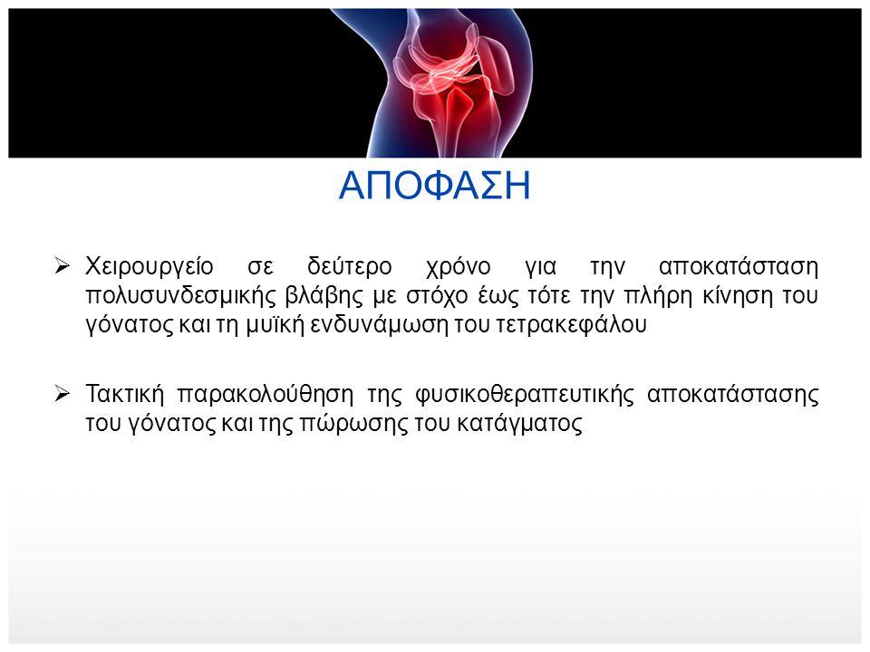 ΑΠΟΦΑΣΗ  Χειρουργείο σε δεύτερο χρόνο για την αποκατάσταση πολυσυνδεσμικής βλάβης με στόχο έως τότε την πλήρη κίνηση του γόνατος και τη μυϊκή ενδυνάμ