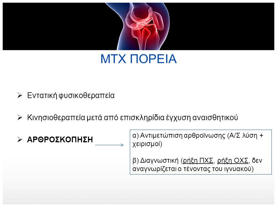 ΜΤΧ ΠΟΡΕΙΑ  Εντατική φυσικοθεραπεία  Κινησιοθεραπεία μετά από επισκληρίδια έγχυση αναισθητικού  ΑΡΘΡΟΣΚΟΠΗΣΗ α) Αντιμετώπιση αρθροϊνωσης (Α/Σ λύση