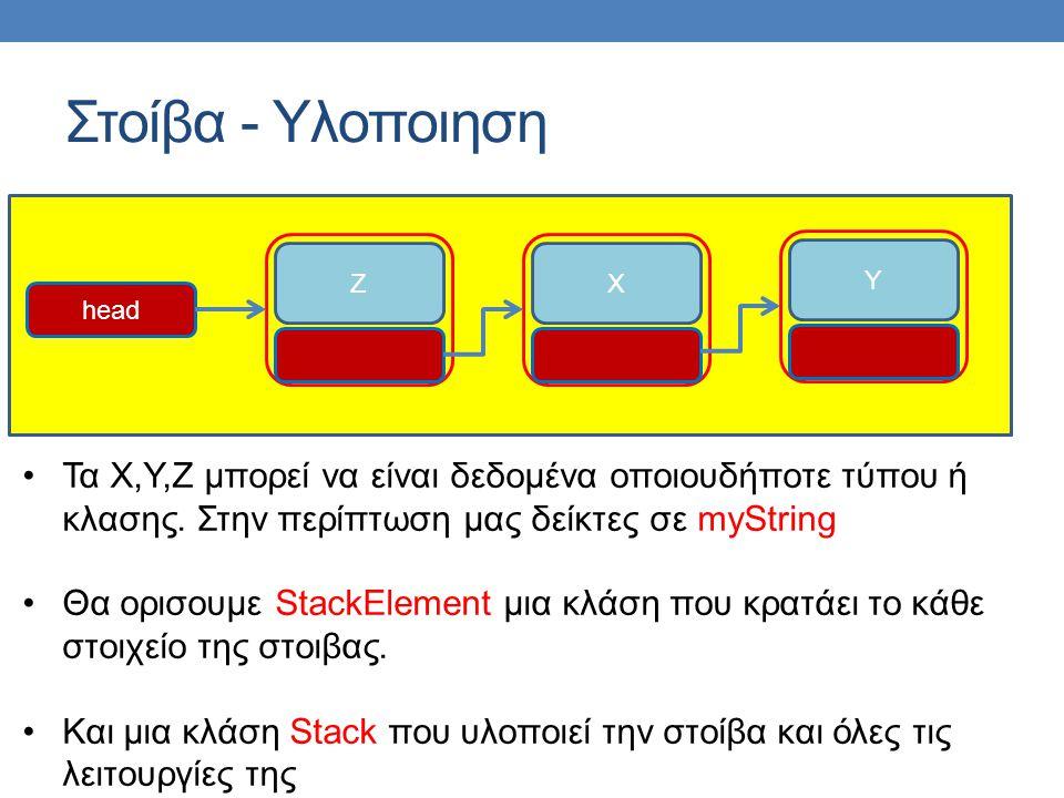 Στοίβα - Υλοποιηση ZXY head •Τα Χ,Υ,Ζ μπορεί να είναι δεδομένα οποιουδήποτε τύπου ή κλασης.
