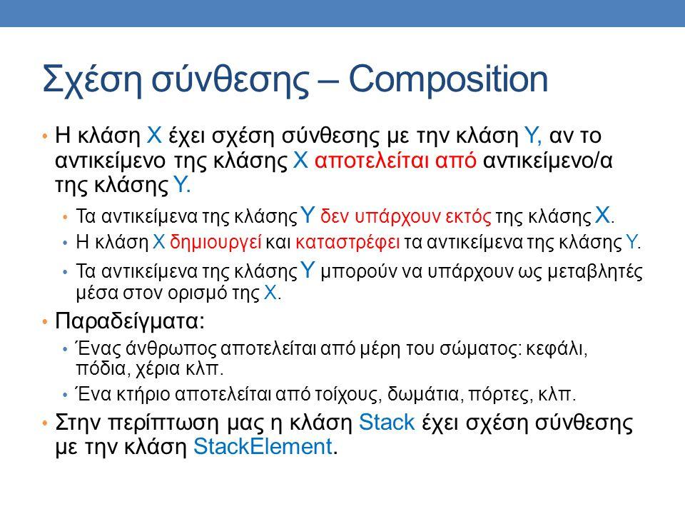 Σχέση σύνθεσης – Composition • Η κλάση Χ έχει σχέση σύνθεσης με την κλάση Υ, αν το αντικείμενο της κλάσης Χ αποτελείται από αντικείμενο/α της κλάσης Υ.