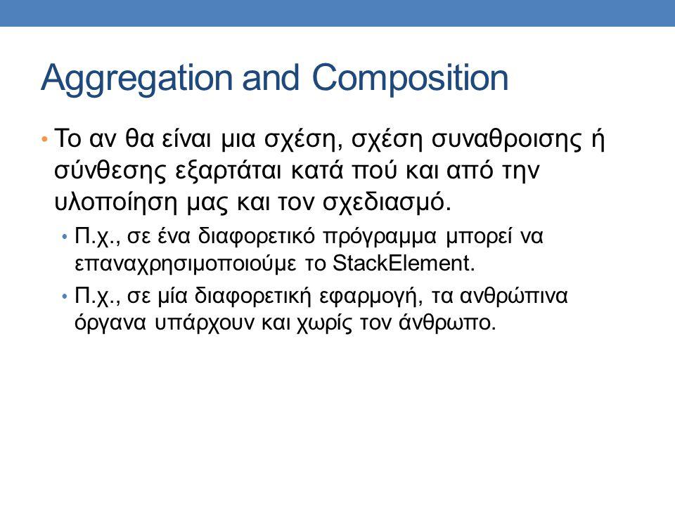 Aggregation and Composition • Το αν θα είναι μια σχέση, σχέση συναθροισης ή σύνθεσης εξαρτάται κατά πού και από την υλοποίηση μας και τον σχεδιασμό.