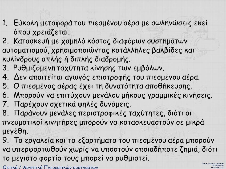 Θετικά / Αρνητικά Πνευματικών συστημάτων Όνομα : Λεκάκης Κωνσταντίνος Καθ. Τεχνολογίας 29/3/2009 11:59 1.Εύκολη μεταφορά του πιεσμένου αέρα με σωληνώσ