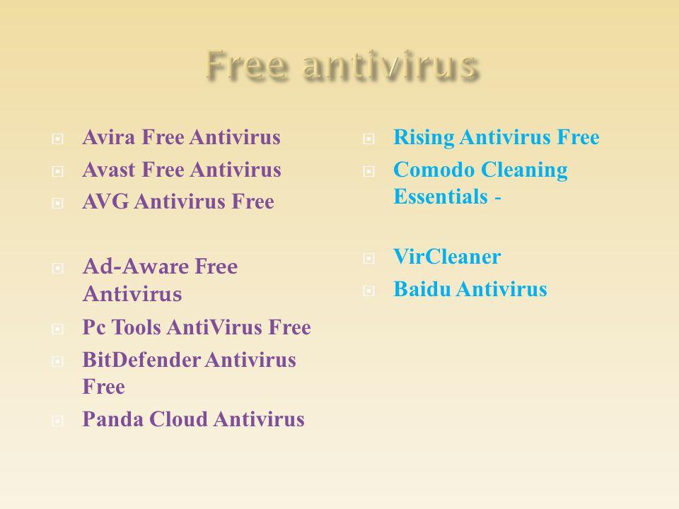 Avira Free Antivirus  Avast Free Antivirus  AVG Antivirus Free  Ad-Aware Free Antivirus  Pc Tools AntiVirus Free  BitDefender Antivirus Free  Panda Cloud Antivirus  Rising Antivirus Free  Comodo Cleaning Essentials -  VirCleaner  Baidu Antivirus