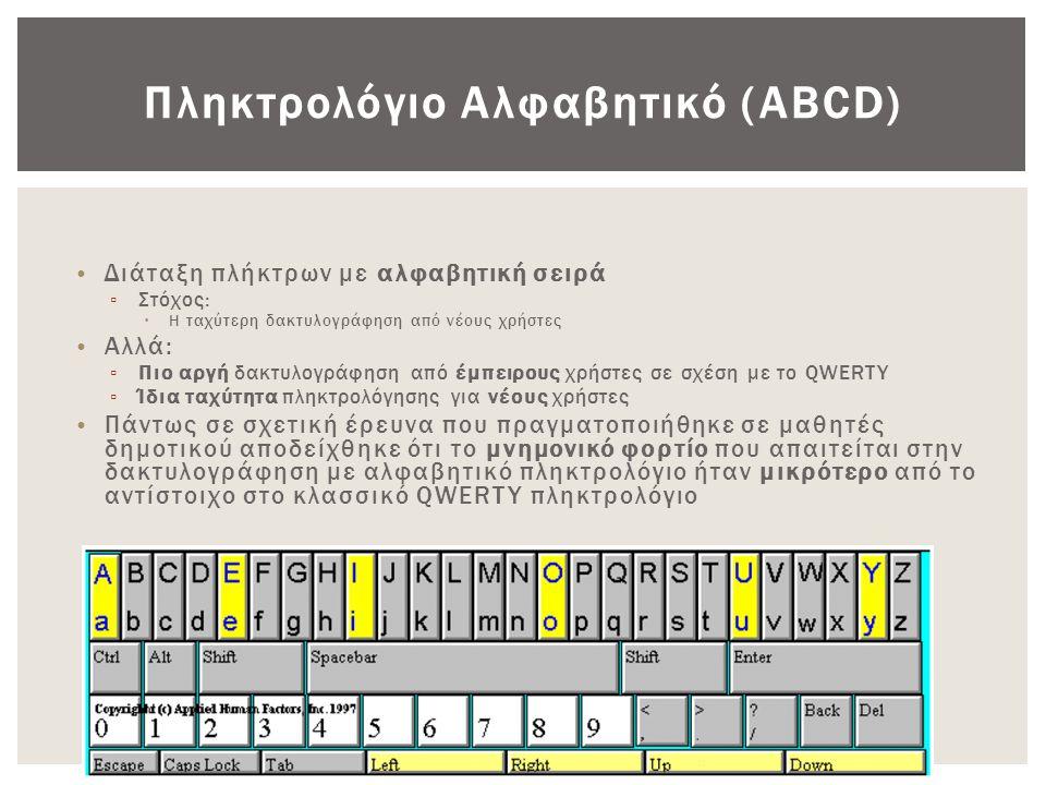 Πληκτρολόγιο Αλφαβητικό (ABCD) • Διάταξη πλήκτρων με αλφαβητική σειρά ▫ Στόχος:  Η ταχύτερη δακτυλογράφηση από νέους χρήστες • Αλλά: ▫ Πιο αργή δακτυ