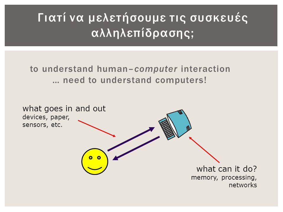 Ο νόμος του Fitt  Η απόδοση μιας δεικτικής συσκευής, δηλαδή ο χρόνος Τ που απαιτείται για να εστιάσει ένας χρήστης έναν δεδομένο στόχο πλάτους W, που βρίσκεται σε απόσταση D από την τρέχουσα θέση του δρομέα.