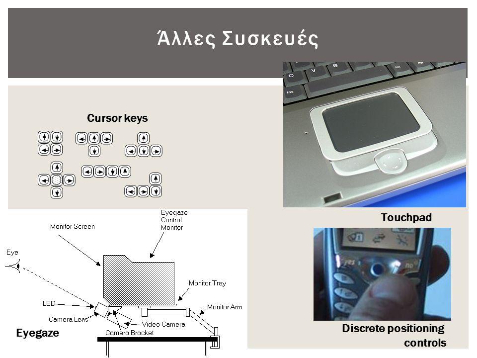 Άλλες Συσκευές Cursor keys Eyegaze Touchpad Discrete positioning controls
