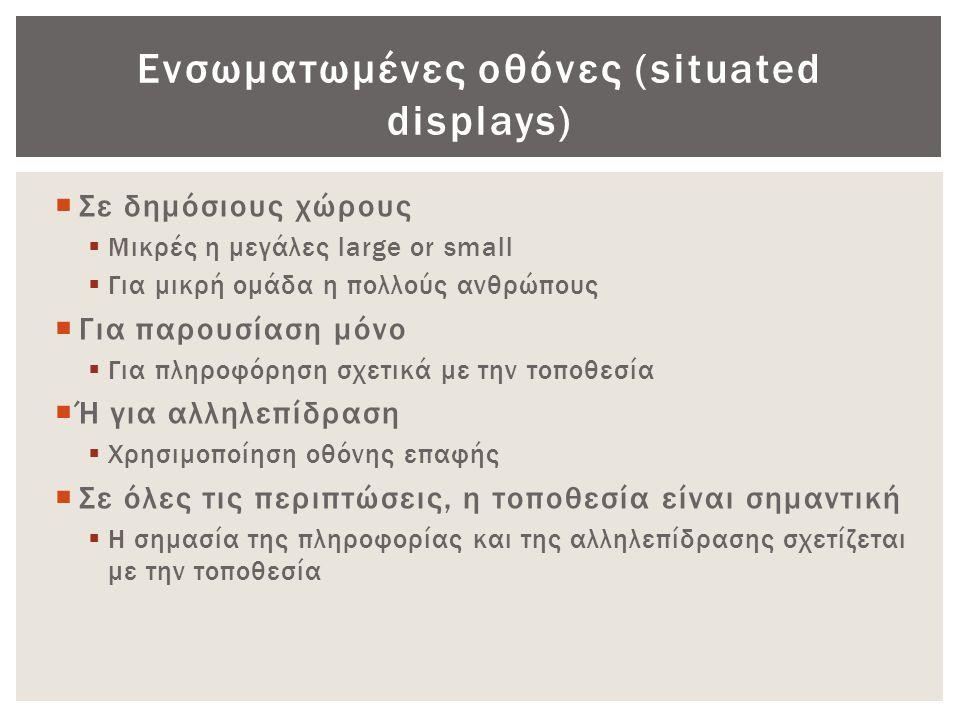 Ενσωματωμένες οθόνες (situated displays)  Σε δημόσιους χώρους  Μικρές η μεγάλες large or small  Για μικρή ομάδα η πολλούς ανθρώπους  Για παρουσίασ
