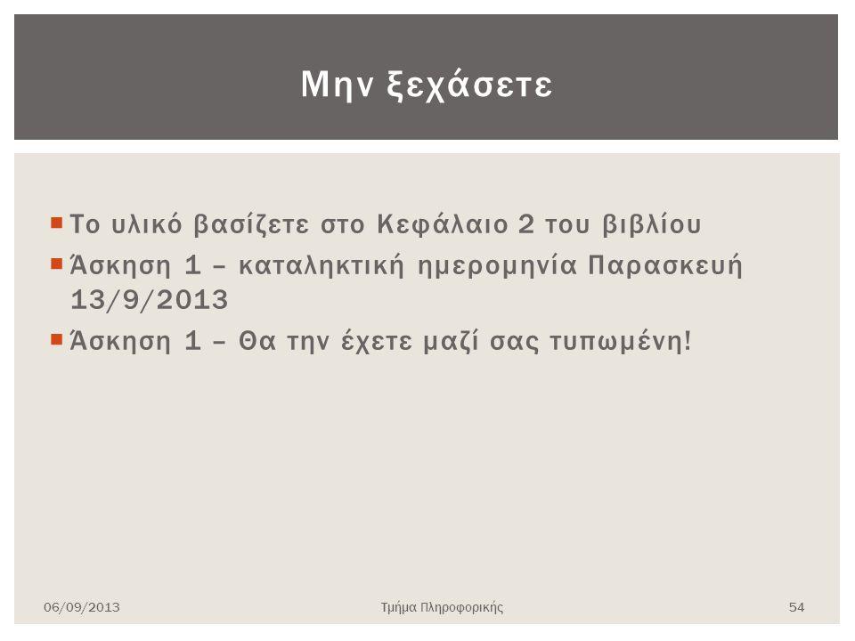  Το υλικό βασίζετε στο Κεφάλαιο 2 του βιβλίου  Άσκηση 1 – καταληκτική ημερομηνία Παρασκευή 13/9/2013  Άσκηση 1 – Θα την έχετε μαζί σας τυπωμένη! 06