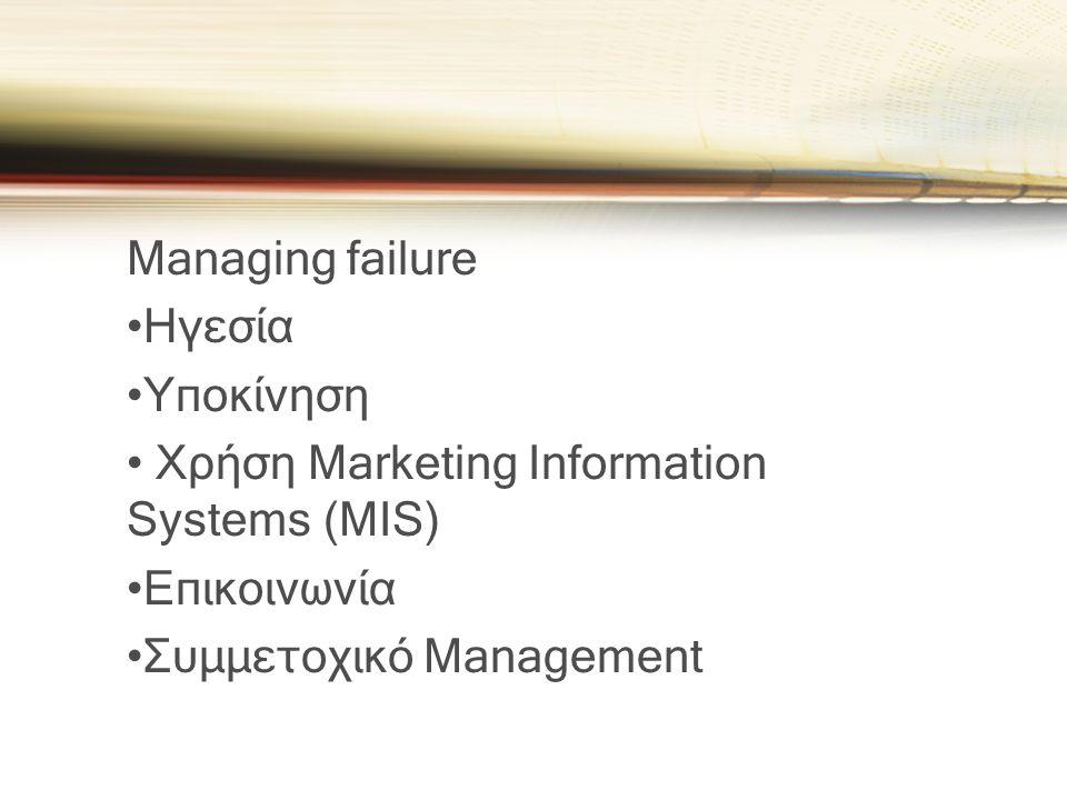Managing failure •Ηγεσία •Υποκίνηση • Χρήση Marketing Information Systems (MIS) •Επικοινωνία •Συμμετοχικό Management