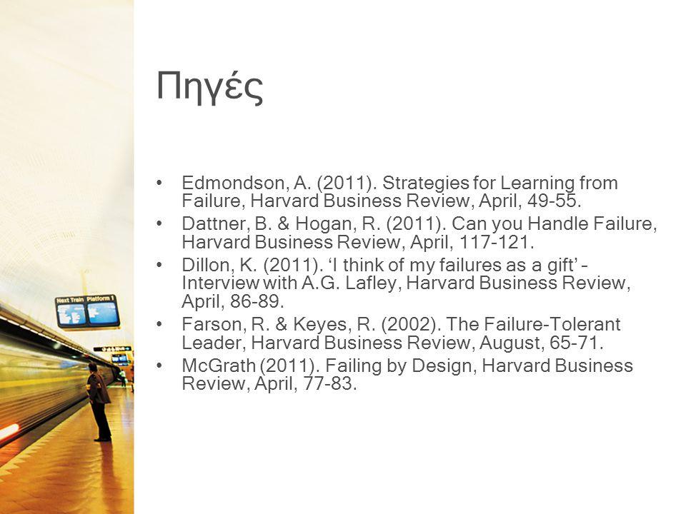 Πηγές •Edmondson, A. (2011). Strategies for Learning from Failure, Harvard Business Review, April, 49-55. •Dattner, B. & Hogan, R. (2011). Can you Han
