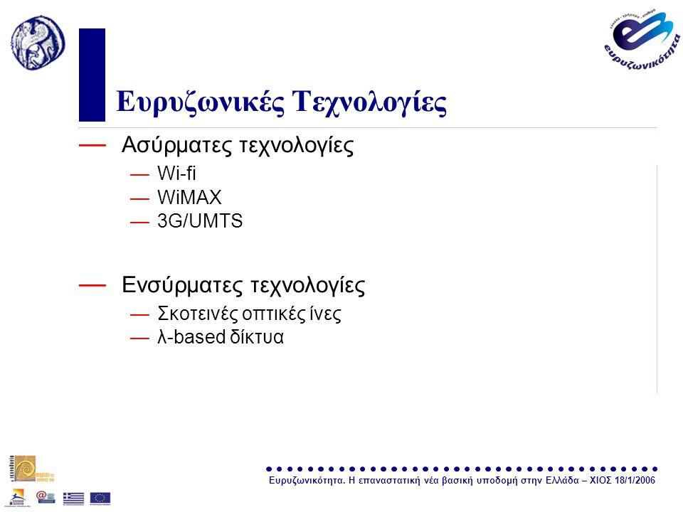 Ευρυζωνικότητα. Η επαναστατική νέα βασική υποδομή στην Ελλάδα – ΧΙΟΣ 18/1/2006 σελίδα 11 Ευρυζωνικές Τεχνολογίες — Ασύρματες τεχνολογίες —Wi-fi —WiMAX