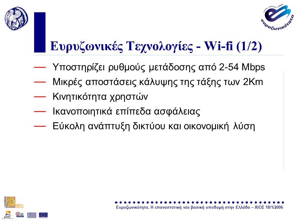 Ευρυζωνικότητα. Η επαναστατική νέα βασική υποδομή στην Ελλάδα – ΧΙΟΣ 18/1/2006 σελίδα 12 Ευρυζωνικές Τεχνολογίες - Wi-fi (1/2) — Υποστηρίζει ρυθμούς μ