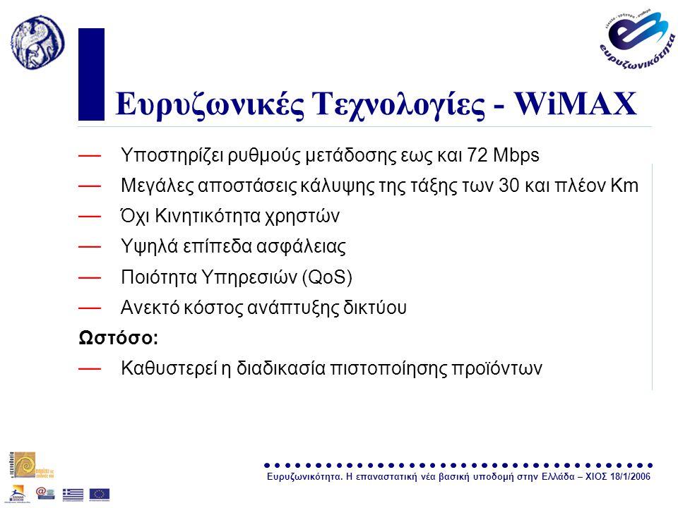 Ευρυζωνικότητα. Η επαναστατική νέα βασική υποδομή στην Ελλάδα – ΧΙΟΣ 18/1/2006 σελίδα 14 Ευρυζωνικές Τεχνολογίες - WiMAX — Υποστηρίζει ρυθμούς μετάδοσ
