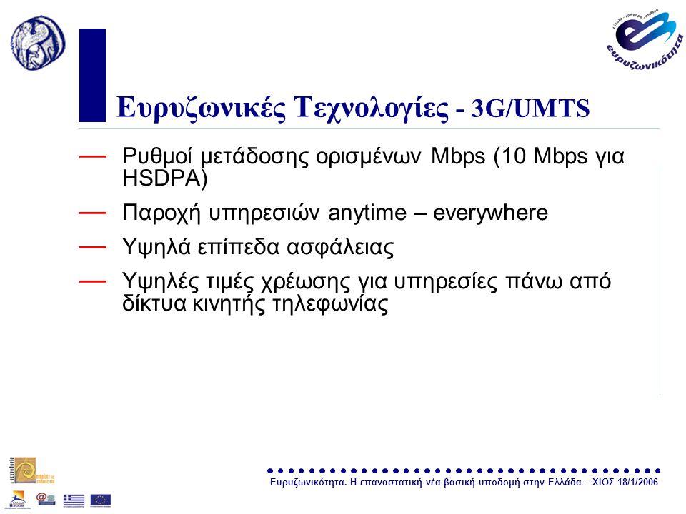 Ευρυζωνικότητα. Η επαναστατική νέα βασική υποδομή στην Ελλάδα – ΧΙΟΣ 18/1/2006 σελίδα 15 Ευρυζωνικές Τεχνολογίες - 3G/UMTS — Ρυθμοί μετάδοσης ορισμένω