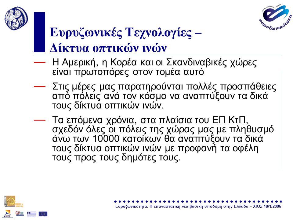 Ευρυζωνικότητα. Η επαναστατική νέα βασική υποδομή στην Ελλάδα – ΧΙΟΣ 18/1/2006 σελίδα 16 Ευρυζωνικές Τεχνολογίες – Δίκτυα οπτικών ινών — Η Αμερική, η