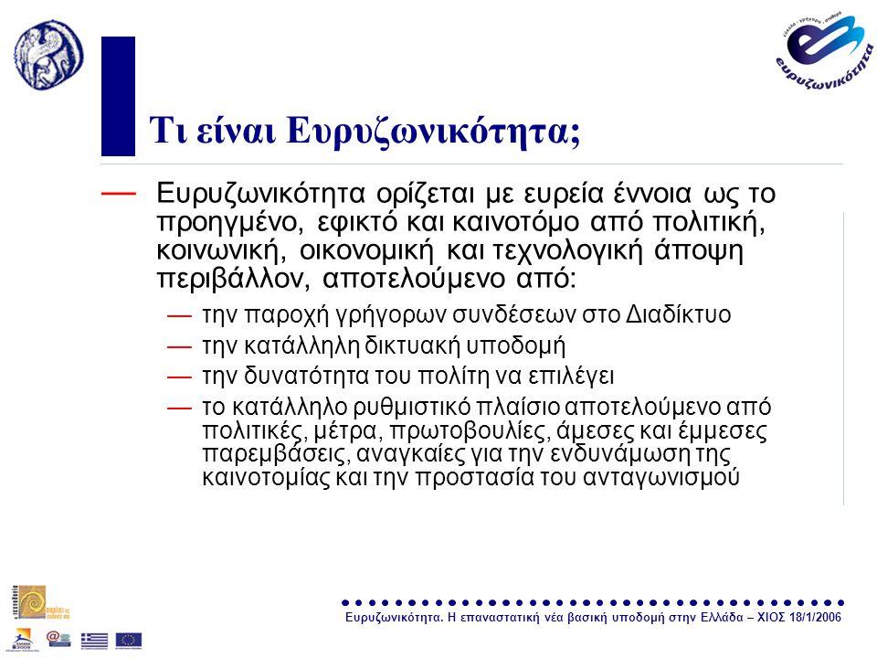 Ευρυζωνικότητα. Η επαναστατική νέα βασική υποδομή στην Ελλάδα – ΧΙΟΣ 18/1/2006 σελίδα 2 Τι είναι Ευρυζωνικότητα; — Ευρυζωνικότητα ορίζεται με ευρεία έ